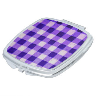 Country Retro Gingham Lavender Purple Compact Mirror