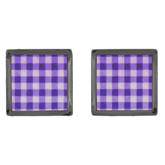 Country Retro Gingham Lavender Purple Gunmetal Finish Cufflinks