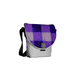 Country Retro Gingham Lavender Purple Messenger Bags