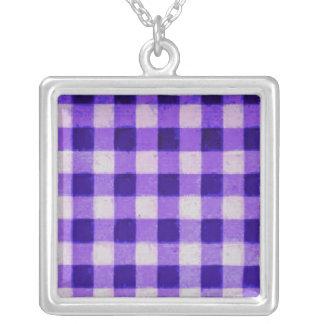 Country Retro Gingham Lavender Purple Custom Necklace
