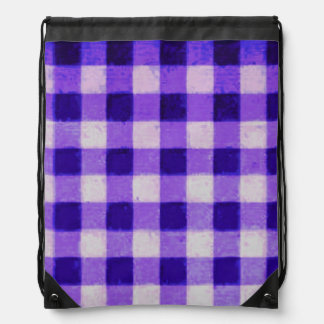 Country Retro Gingham Lavender Purple Cinch Bag