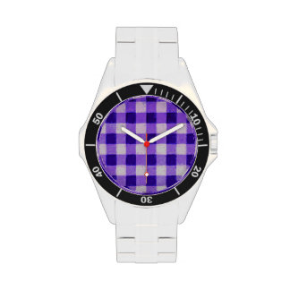 Country Retro Gingham Lavender Purple Watch