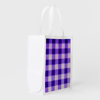 Country Retro Gingham Lavender Purple Reusable Grocery Bag