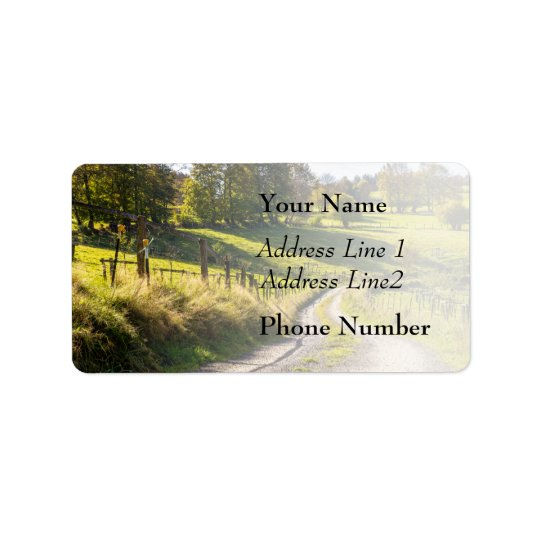 Country Road Between Green Meadows Landscape Address Label