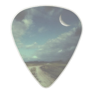 Country road leading to the church acetal guitar pick
