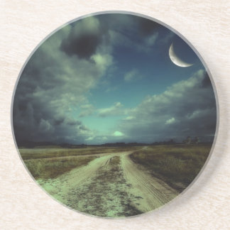 Country road leading to the church beverage coaster