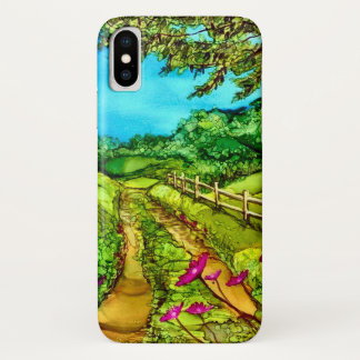 Country Road Watercolor Scenery Case