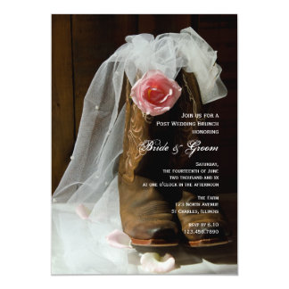Country Rose and Cowboy Boots Post Wedding Brunch Card