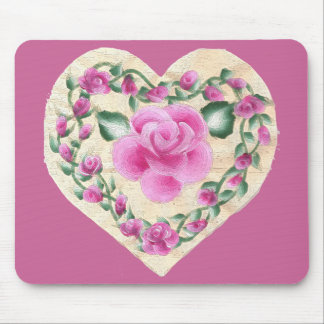 Country Rose Heart Mouse Pad
