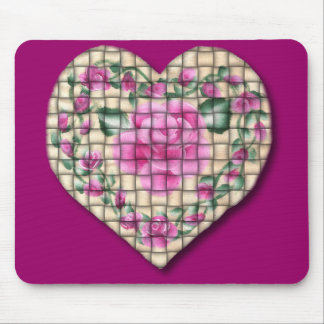 Country Rose Heart (Woven) Mouse Pad