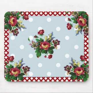 Country Roses Dots and Gingham Mousepad