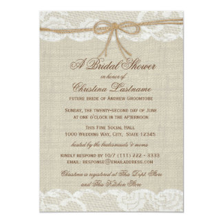 Country Rustic and Lace Wedding Bridal Shower 13 Cm X 18 Cm Invitation Card