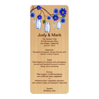 Country Rustic Blue Mason Jars Wedding Menu Card 10 Cm X 24 Cm Invitation Card