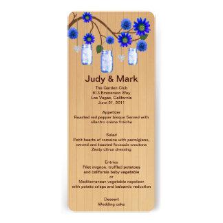 Country Rustic Blue Mason Jars Wedding Menu Card