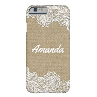Country Rustic Burlap and Floral Lace Stylish Barely There iPhone 6 Case