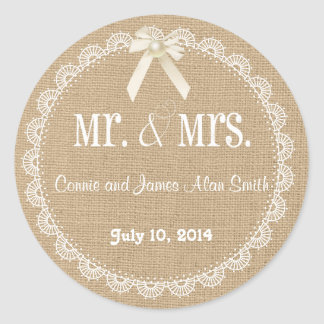 Country Rustic Burlap and Lace Wedding Sticker