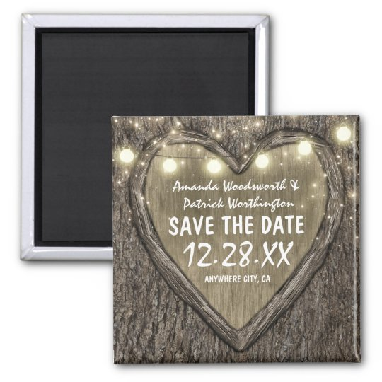 Country Rustic Carved Oak Tree Save the Date