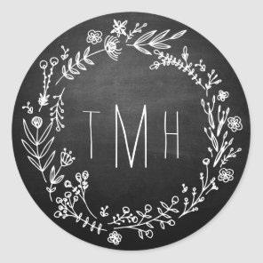 Country Rustic Chalkboard Monogram Wedding Sticker