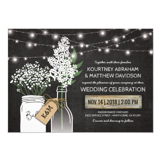 Country Rustic Chalkboard Wood Wedding Card