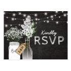 Country Rustic Chalkboard Wood Wedding RSVP Postcard