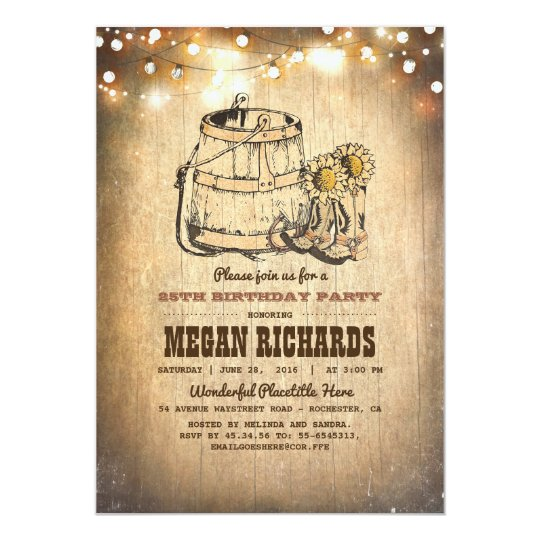 Country Rustic Cowboy Boots Birthday Party Card