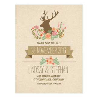 Country rustic deer antlers save the date postcard