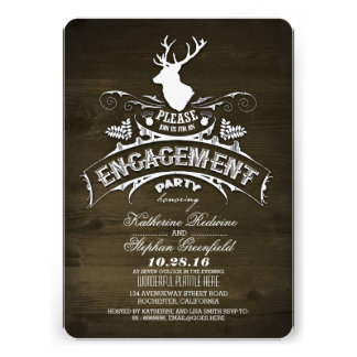 Country rustic deer engagement party invitations personalized invite