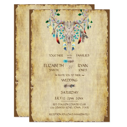Country Rustic, Deer Skull, Feathers, Wedding Card