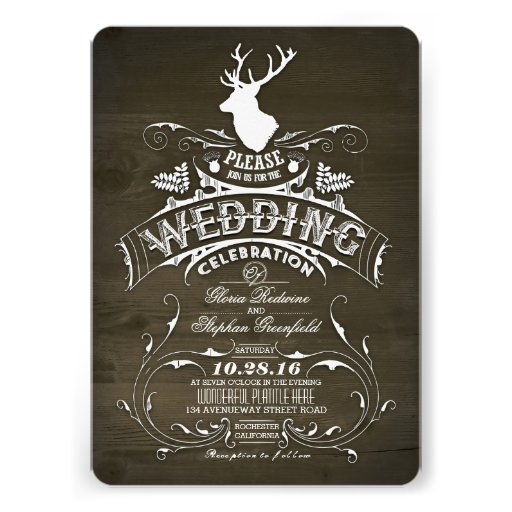 Country rustic deer wedding invitations custom announcements