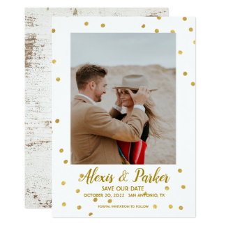 Country Rustic Gold Dots Save The Date Photo Card