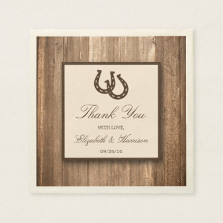 Country Rustic Horseshoe & Brown Wood Wedding Disposable Serviette