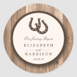 Country Rustic Horseshoe & Brown Wood Wedding Round Sticker