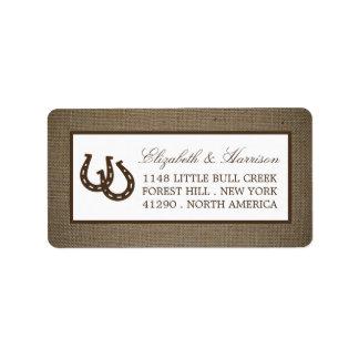 Country Rustic Horseshoe On Burlap Wedding Label