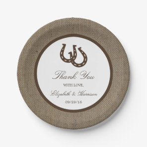 Country Rustic Horseshoe On Burlap Wedding Paper Plate