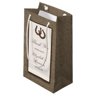 Country Rustic Horseshoe On Burlap Wedding Small Gift Bag