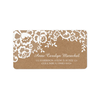 Country Rustic Lace Wedding Label