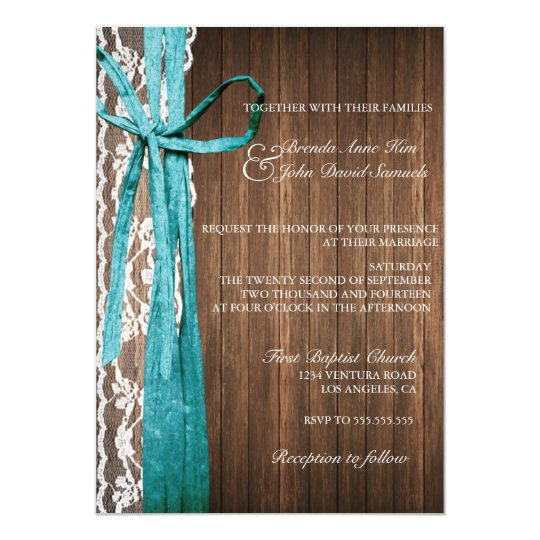 Country Rustic Lace Wood Wedding Invitation