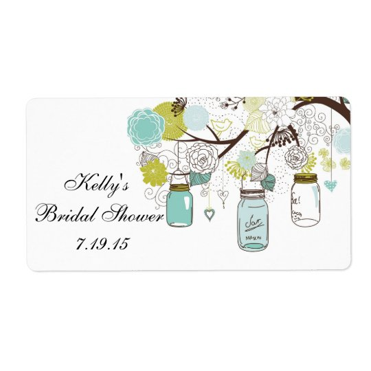 Country Rustic Mason Jar Bridal Shower Favour Shipping Label