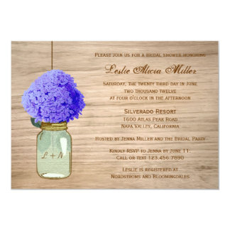 Country Rustic Mason Jar Cornflower Blue Hydrangea Card
