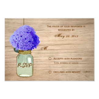 Country Rustic Mason Jar CornFlower Blue RSVP Card