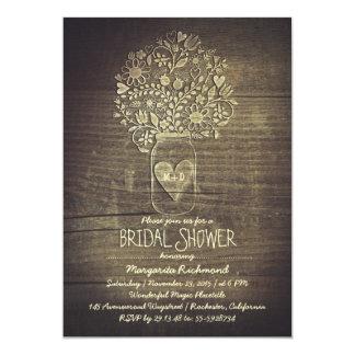 country rustic mason jar floral bridal shower 13 cm x 18 cm invitation card