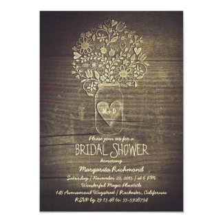 country rustic mason jar floral bridal shower card