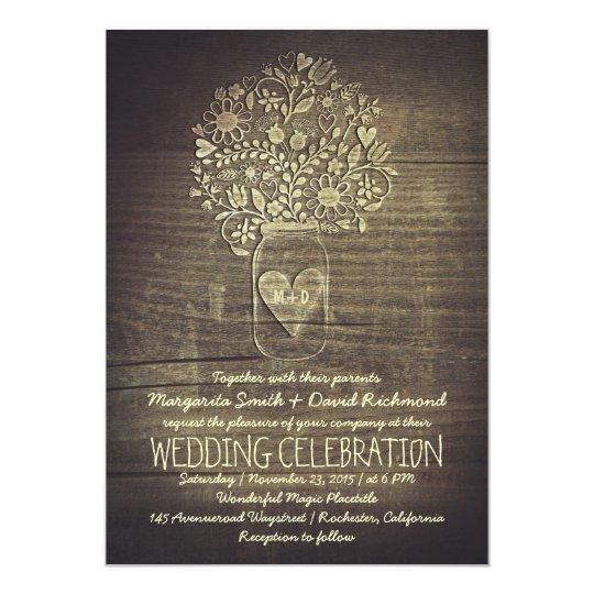 country rustic mason jar floral wedding invitation