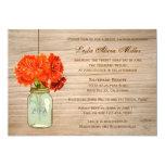 Country Rustic Mason Jar Flowers  Bridal Shower 13 Cm X 18 Cm Invitation Card
