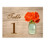 Country Rustic Mason Jar Flowers Table Number Post Cards