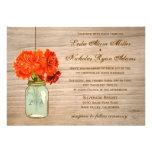 Country Rustic Mason Jar Flowers Wedding Personalised Invites