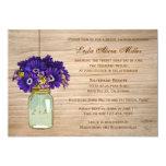 Country Rustic Mason Jar Gerbera Daisies 5x7 Paper Invitation Card
