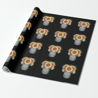 Country Rustic Mason Jar Sunflower Wedding Wrapping Paper