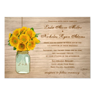 Country Rustic Mason Jar Sunflowers Wedding Card