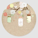 Country Rustic Mason Jars Wedding Burlap Sticker